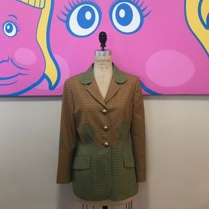 Moschino Tan Plaid Puzzle Jacket Blazer Vintage